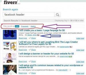 online fiverr outsource guide - search sort job ratings