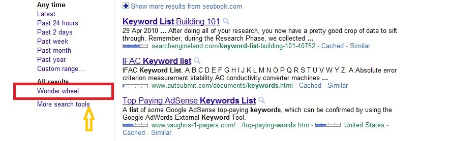 how to keyword research - Using Google wonder wheel sidebar1